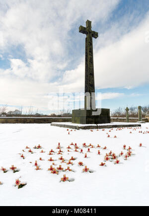 A forest of small wooden crosses planted in snow before the DLI memorial cross in Palace Green, Durham City, England, - Stock Photo