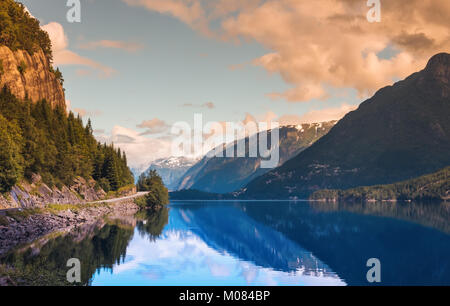 Hardanger Fjord Norway landscape. - Stock Photo
