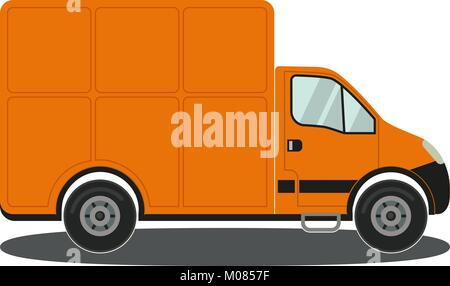 Orange truck side view isolated on white background poster. - Stock Photo