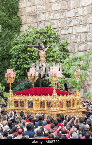 Float of Christ of the brotherhood of 'Santa Cruz'  in procession on Holy Tuesday. - Stock Photo
