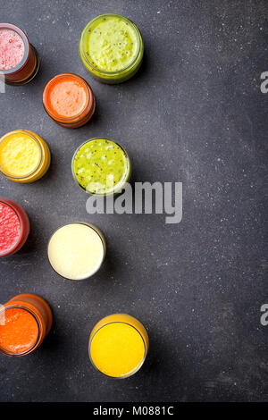 Glasses of fresh juice. Top view - Stock Photo