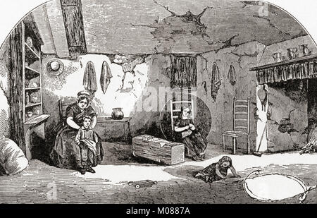 Interior of a Dorchester labourer's cottage in the early 19th century.  From The Martyrs of Tolpuddle, published - Stock Photo