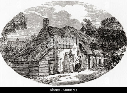 Exterior of a Dorchester labourer's cottage in the early 19th century.  From The Martyrs of Tolpuddle, published - Stock Photo