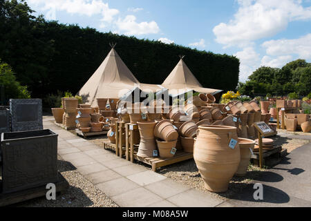 Pots and tents at Burford Garden Centre in the Cotswolds Oxfordshire UK. - & Burford Garden Company garden centre Stock Photo Royalty Free ...