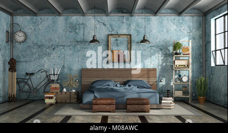 Master Bedroom In Industrial Style With Old Blue Wall