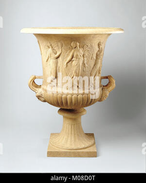 Marble calyx-krater with reliefs of maidens and dancing maenads MET 29B R27R5 - Stock Photo