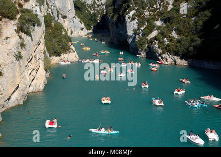 Gorges du Verdon from bridge over Lac de Sainte-Croix, Provence,France - Stock Photo