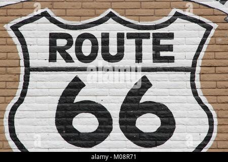 Arizona, United States - famous Route 66 sign painted on a wall. - Stock Photo