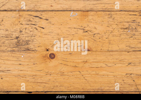 Full frame close up of scratched and paint splattered old pine floorboards - Stock Photo