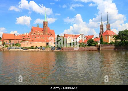 Wroclaw, Poland - city architecture. Ostrow Tumski - oldest part of the city. - Stock Photo