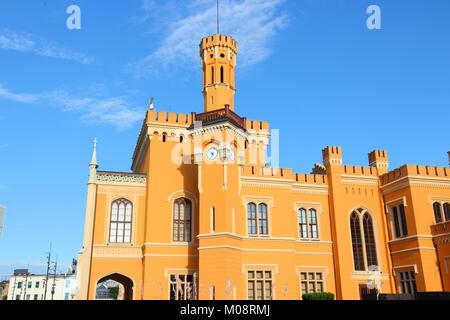 Wroclaw, Poland - city architecture. Main railway station building. - Stock Photo