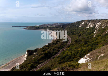 Cliff-top view taken from Capel-Le-Ferne, looking towards the town of Folkestone - Stock Photo