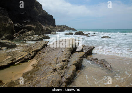 Dollar Cove near Gunwalloe Cornwall on the Lizard Coast - Stock Photo