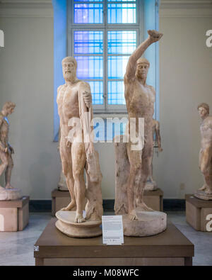 Naples. Italy. The Tyrannicides group, sculpture depicting Harmodius (right) and Aristogeiton (left), 2nd century - Stock Photo