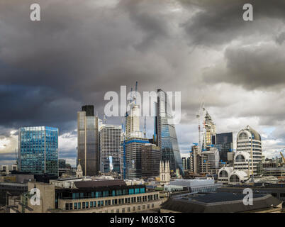 City of London real estate: skyscrapers including, Cheesegrater, Tower 42, and new buildings under construction, - Stock Photo