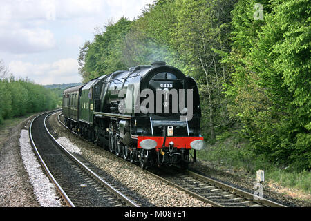 LMS Pacific Steam Locomotive No. 6233 Duchess of Sutherland at Deighton, 17th May 2010 - Deighton, Yorkshire, United - Stock Photo