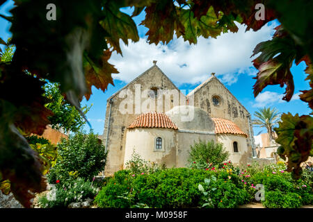 Monastery garden, Monastic Church Greek Orthodox two-nave church, National Monument of Crete in the struggle for - Stock Photo