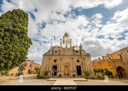 Monastic Church Greek Orthodox two-nave church, National Monument of Crete in the struggle for independence, Moni - Stock Photo