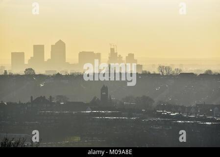 Alexandra Palace, London, UK. 19th Jan, 2018. UK Weather. Haze over London seen from Alexandra Palace. Credit: Matthew - Stock Photo