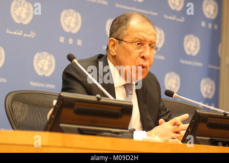 UN, New York, USA. 19th Jan, 2018. Sergey Lavrov, Russia's Foreign Minister, briefed press at the UN. Credit: Matthew - Stock Photo