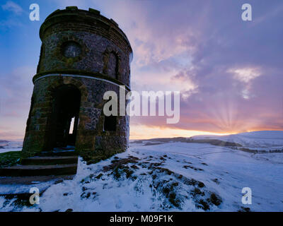 Buxton, Derbyshire, UK. 19th January, 2018. UK Weather: Sunset over Solomon's Temple Buxton Derbyshire, also called - Stock Photo