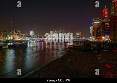 London, UK. 18th Jan, 2018. A night view of the City, Blackfriars Bridge and the river Thames from the South Bank, - Stock Photo