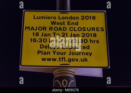 London, UK. 19th Jan, 2018. Lumiere Lights Festival gets very busy as it heads towards the weekend, with many road - Stock Photo