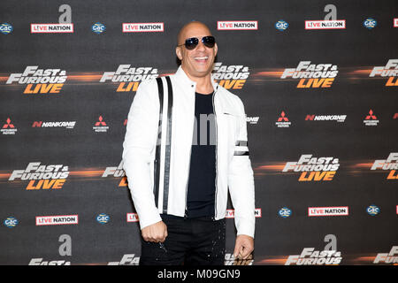 London, UK. 19th Jan, 2018. vin diesel at the Global Premiere of Fast & Furious Live at the O2 Arena London England, - Stock Photo