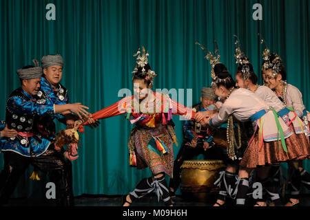 Kalkara, Malta. 19th Jan, 2018. Chinese dancers from Guizhou Congjiang Ethnic Art Troupe present Dong ethnic wedding - Stock Photo