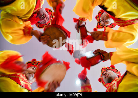 Jinan, China's Shandong Province. 19th Jan, 2018. Actors of Guzi yangge dance troupe rehearse at a culture center in Shanghe County, east China's Shandong Province, Jan. 19, 2018. Invited by the China Cultural Center in Stockholm, the troupe will participate in Spring Festival celebration events in Sweden from Feb. 9 to 14. Credit: Guo Xulei/Xinhua/Alamy Live News