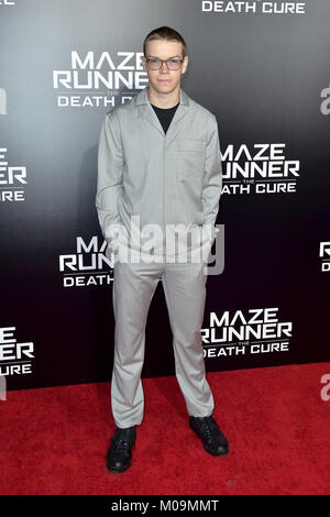 Century City, California. 18th Jan, 2018. Will Poulter attends the fan screening of 20th Century Fox's 'Maze Runner: - Stock Photo