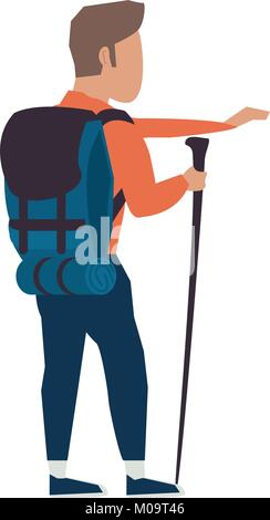 Mountain climber cartoon - Stock Photo