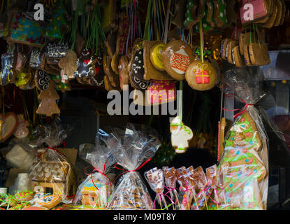 Various Gingerbreads sold at Christmas Market on Christmas fair - Stock Photo