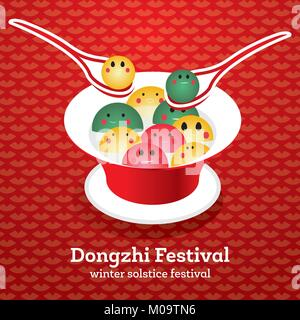 Dong Zhi Chinese Winter Solstice Festiva. Tangyuan (Sweet Dumplings) in Plate with Soup. Vector Illustration. - Stock Photo