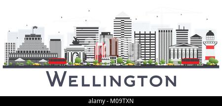 Wellington New Zealand City Skyline with Gray Buildings Isolated on White Background. Vector Illustration. Business - Stock Photo