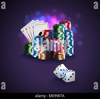 Poker vector illustration, stack of poker chips, ace cards on bokeh purple background, two white dices on foreground. - Stock Photo
