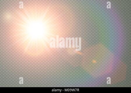 Vector transparent sunlight special lens flare light effect. Sun flash with warm rays and spotlight. Abstract translucent - Stock Photo