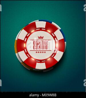 Vector casino poker chips with luminous light elements, top view. Blue green textured background. Online casino, - Stock Photo
