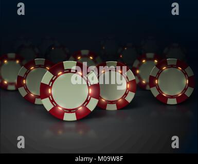 Vector casino poker chips with luminous lights elements. Dark background, glossy surface. White and red color. Group - Stock Photo