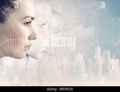 Woman and robots - artificial intelligence concept - Stock Photo
