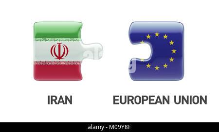 European Union Iran High Resolution Puzzle Concept - Stock Photo
