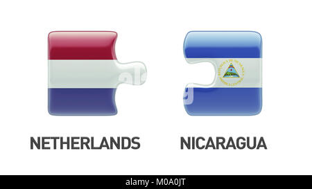 Nicaragua Netherlands High Resolution Puzzle Concept - Stock Photo