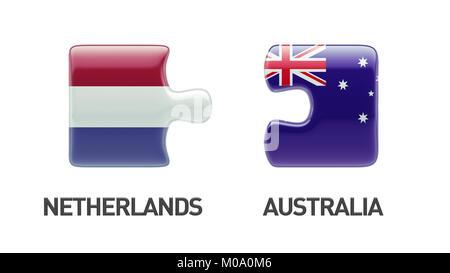 Australia Netherlands High Resolution Puzzle Concept - Stock Photo