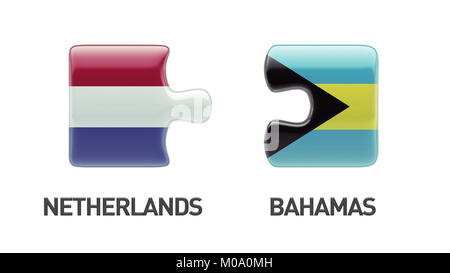 Bahamas  Netherlands High Resolution Puzzle Concept - Stock Photo