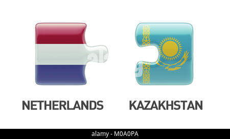 Kazakhstan Netherlands High Resolution Puzzle Concept - Stock Photo