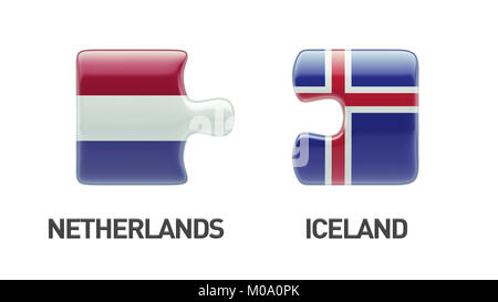 Iceland Netherlands High Resolution Puzzle Concept - Stock Photo