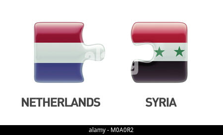 Syria Netherlands High Resolution Puzzle Concept - Stock Photo