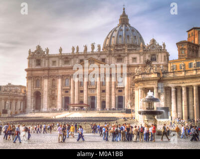 Rome, Italy: St. Peter's Basilica in the Vatican City - Stock Photo