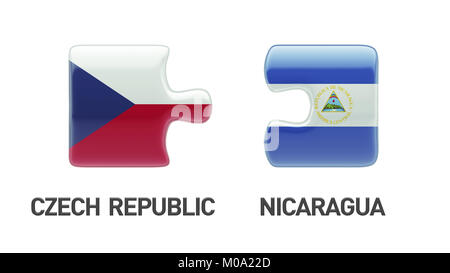 Czech Republic Nicaragua High Resolution Puzzle Concept - Stock Photo