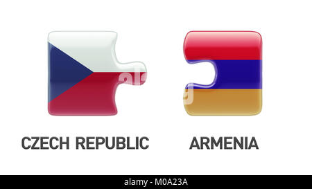 Armenia Czech Republic High Resolution Puzzle Concept - Stock Photo